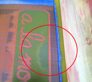 Not having enough off-contact or working with a loose mesh may cause the ink to pool...
